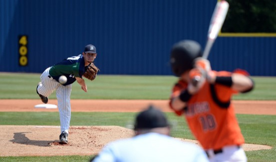 Mike Kochheiser fires a pitch plateward in the loss to Indiana Tech (photo by Ryan Bartels)